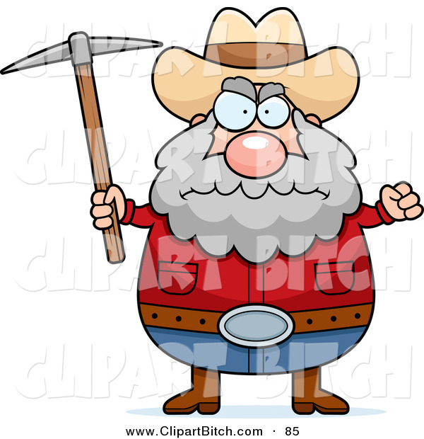 Clip Vector Cartoon Art of a Grumpy and Angry Prospector Holding a Pickaxe