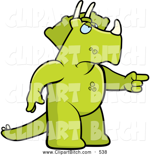 Clip Vector Cartoon Art of a Grumpy Green Mad Triceratops Angrily Pointing