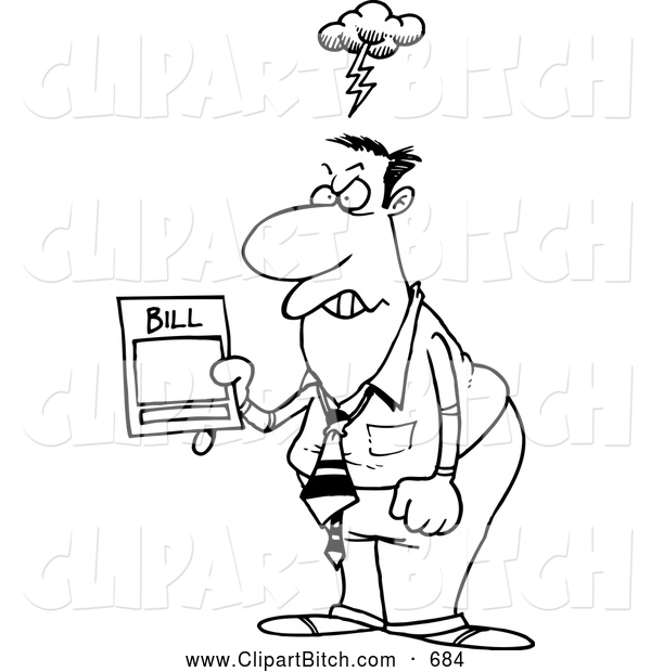 Clip Vector Cartoon Art of a Grumpy Mad Businessman Holding an Overcharged Billing Statement