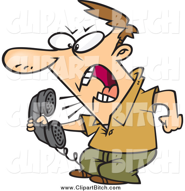 Clip Vector Cartoon Art of a Irate White Man Screaming into the Phone