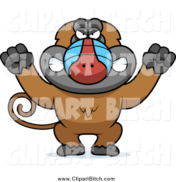 Clip Vector Cartoon Art of a Mad Baboon Monkey Holding up Fists