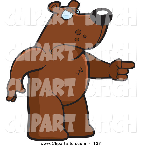 Clip Vector Cartoon Art of a Mad Bear Character Pointing His Finger to the Right