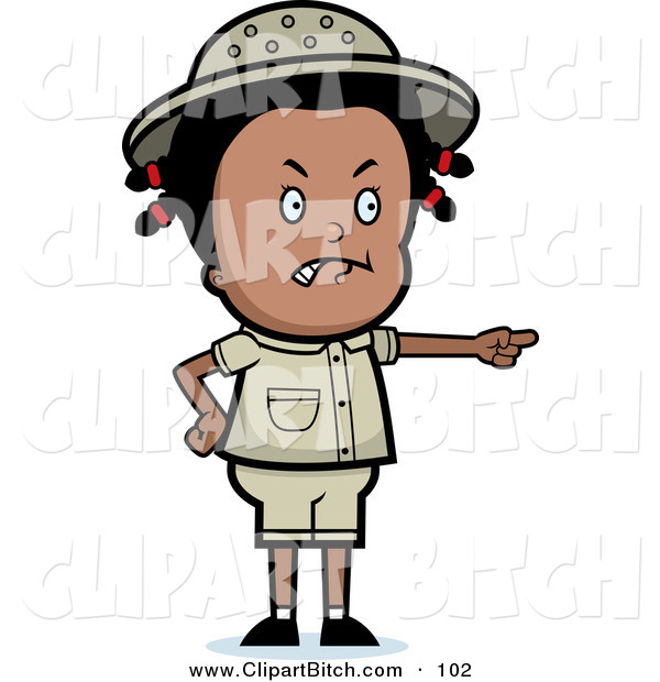 Clip Vector Cartoon Art of a Mad Black Safari Girl Pointing to the Right