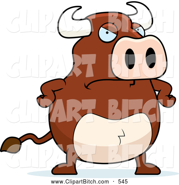Clip Vector Cartoon Art of a Mad Brown Bull with His Hands on His Hips