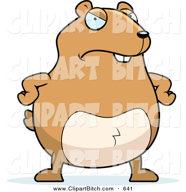 Clip Vector Cartoon Art of a Mad Brown Hamster with Arms on His Hips