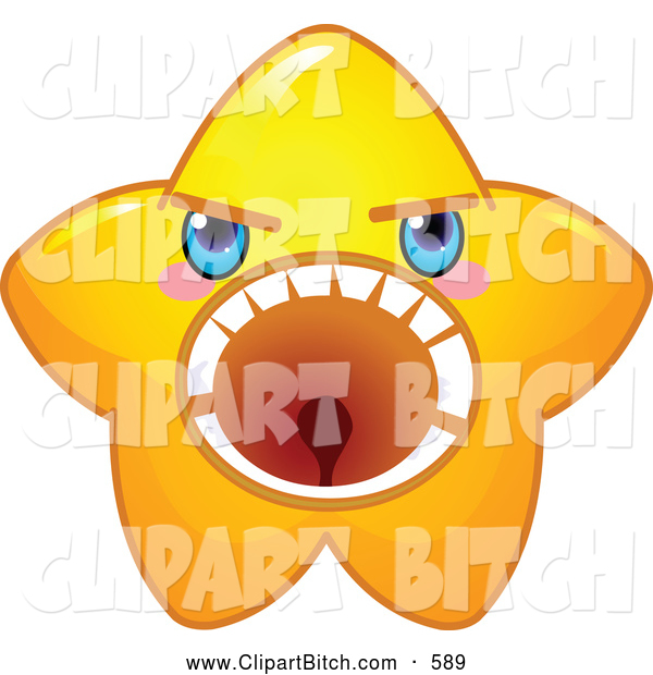 Clip Vector Cartoon Art of a Mad but Cute Yellow Star Character Screaming