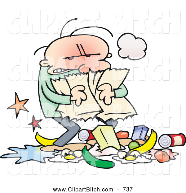 Clip Vector Cartoon Art of a Mad Cartoon Guy Carrying a Torn Grocery Bag with Food at His Feet