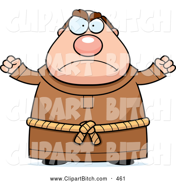 Clip Vector Cartoon Art of a Mad Chubby Monk