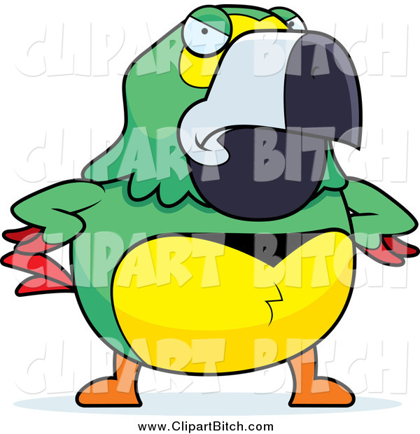 Clip Vector Cartoon Art of a Mad Green Parrot with Wings on His Hips
