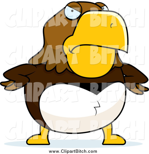 Clip Vector Cartoon Art of a Mad Hawk with Hands on His Hips
