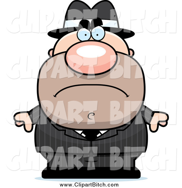 Clip Vector Cartoon Art of a Mad Mobster Man