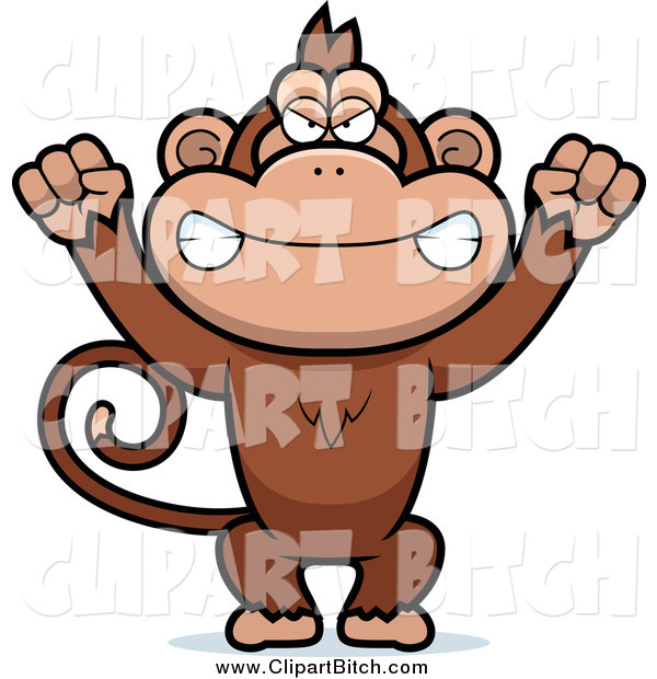Clip Vector Cartoon Art of a Mad Monkey Waving His Fists