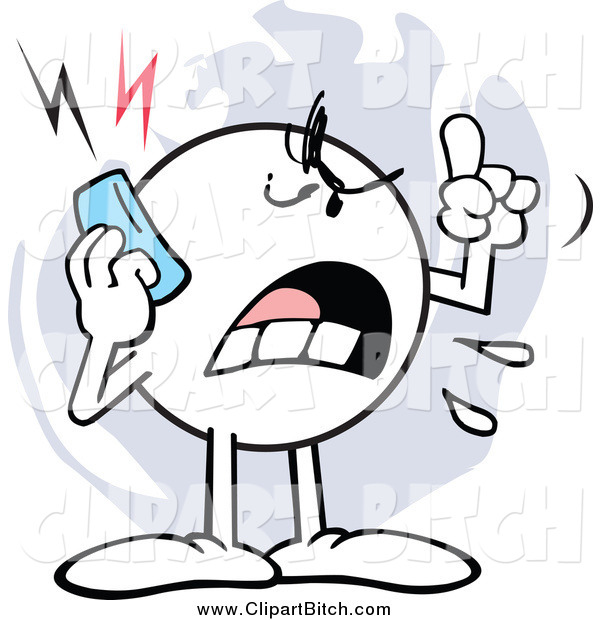Clip Vector Cartoon Art of a Mad Moodie Character Screaming on a Cell Phone