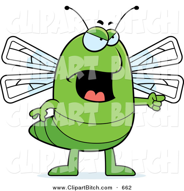 Clip Vector Cartoon Art of a Mad or Angry Dragonfly Pointing to the Right