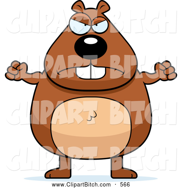 Clip Vector Cartoon Art of a Mad Plump Beaver Waving His Fists