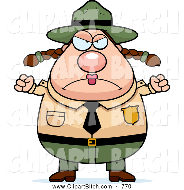 Clip Vector Cartoon Art of a Mad Plump Female Forest Ranger Waving Her Fists