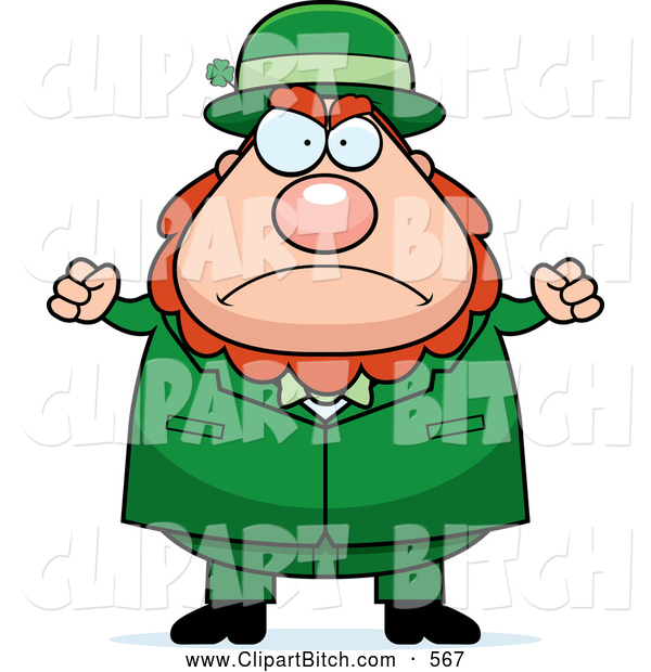 Clip Vector Cartoon Art of a Mad Plump Leprechaun Waving His Fists in Anger