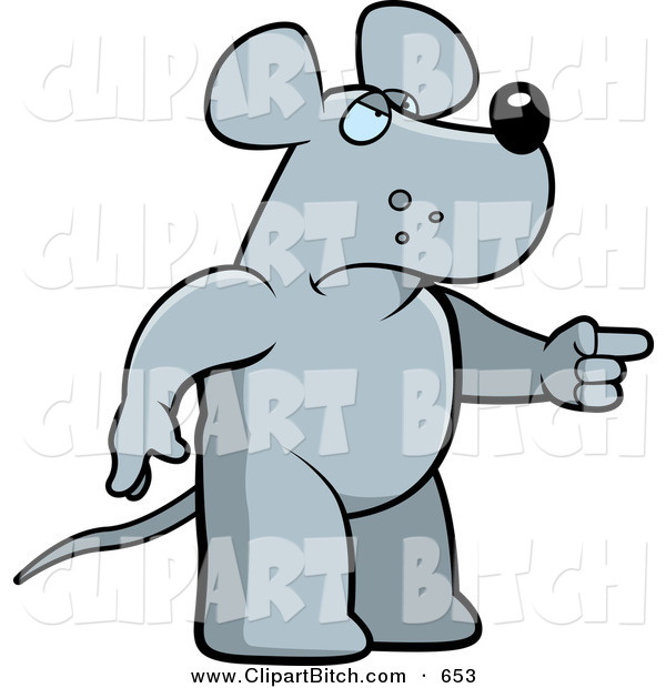 Clip Vector Cartoon Art of a Mad Rat Pointing to the Right