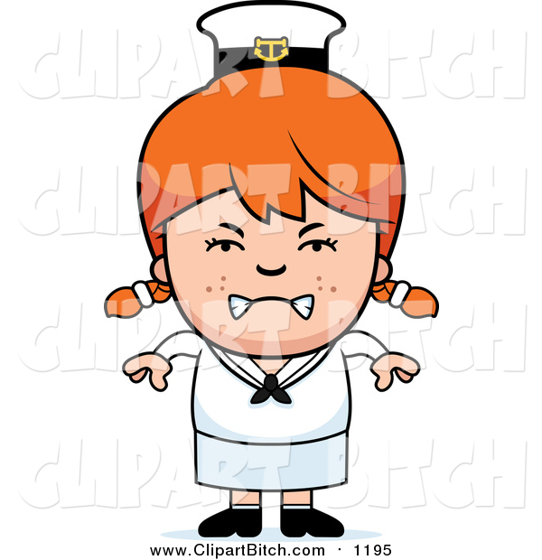 Clip Vector Cartoon Art of a Mad Red Haired Sailor Girl