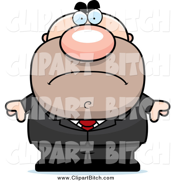 Clip Vector Cartoon Art of a Mad Short White Businessman in a Suit