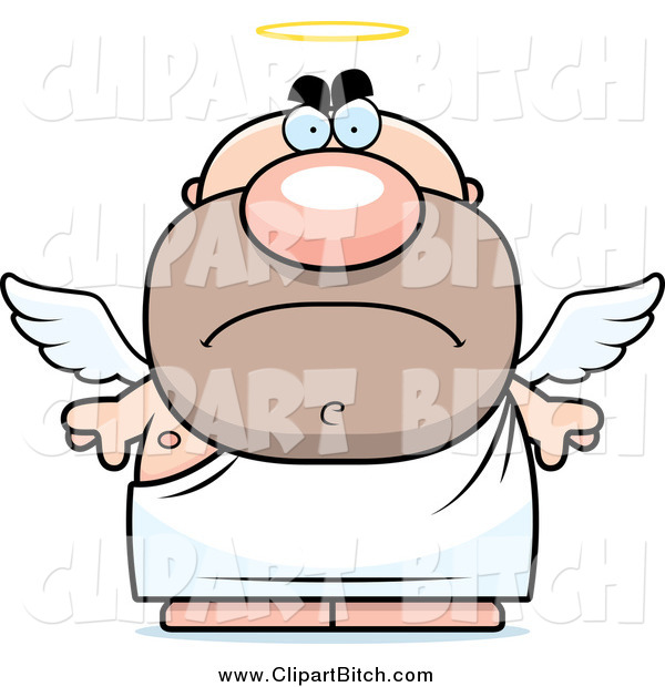 Clip Vector Cartoon Art of a Mad Short White Male Angel