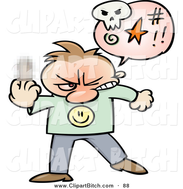 Clip Vector Cartoon Art of a Mad Toon Guy Cursing and Holding up His Middle Finger with a Blurred Spot