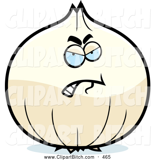 Clip Vector Cartoon Art of a Mad White Onion Character