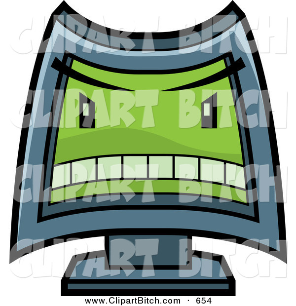 Clip Vector Cartoon Art of a Mean Computer with a Green Evil Face on White