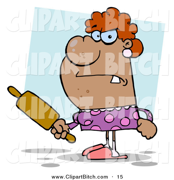 Clip Vector Cartoon Art of a Pissed Housewife Holding a Rolling Pin, Ready to Threaten