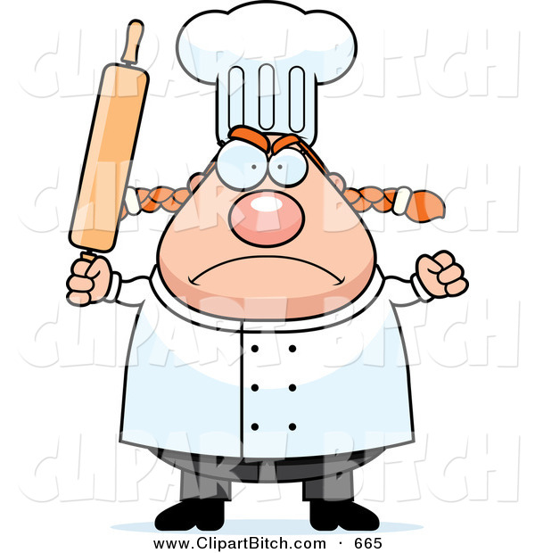 Clip Vector Cartoon Art of a Plump Angry Female Chef Holding up a Rolling Pin in a Nice Kitchen