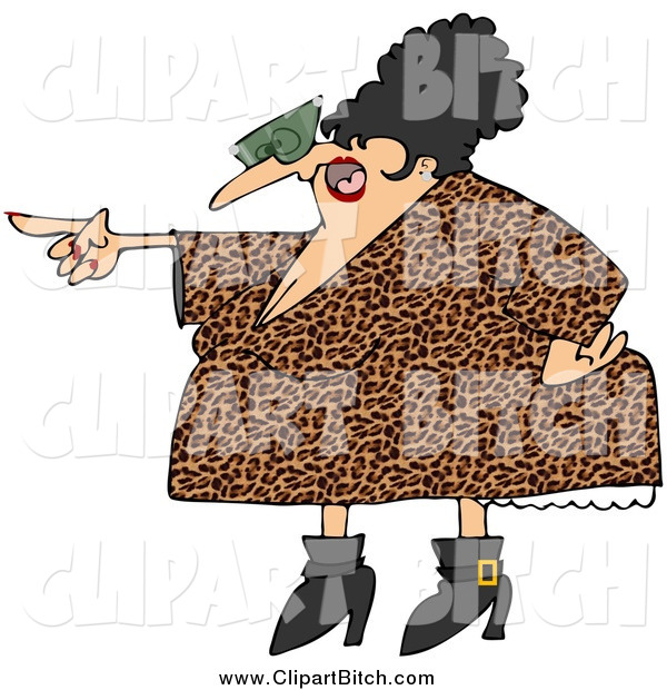 Cartoon Art of a Pointing Chubby Angry Woman in a Leopard Print Dress