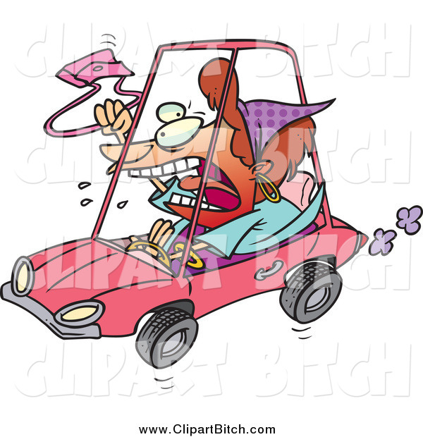 Clip Vector Cartoon Art of a Red Haired White Female Driver with Road Rage