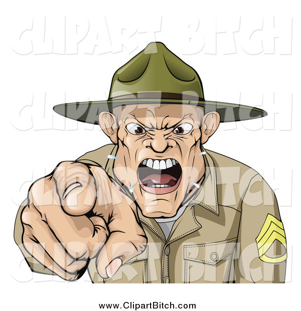 Clip Vector Cartoon Art of a Screaming Drill Sargent Spitting As He Shouts