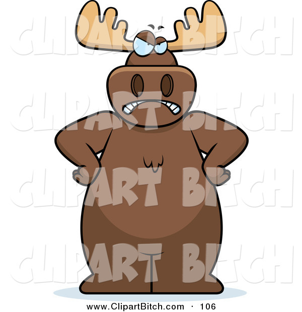 Clip Vector Cartoon Art of a Stern and Angry Brown Moose