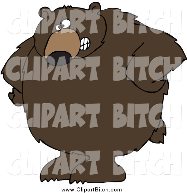 Clip Vector Cartoon Art of a Stern Big Brown Bear with His Hands on His Hips