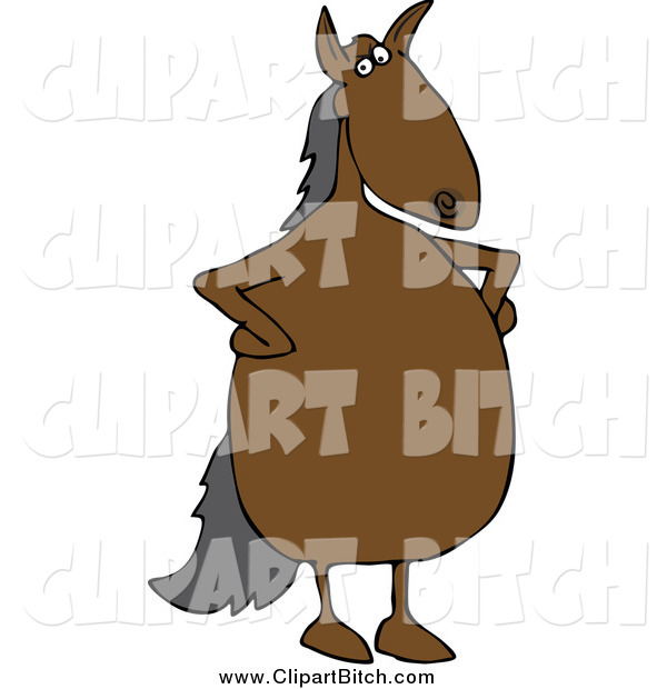 Clip Vector Cartoon Art of a Stern Horse Standing with His Hands on His Hips