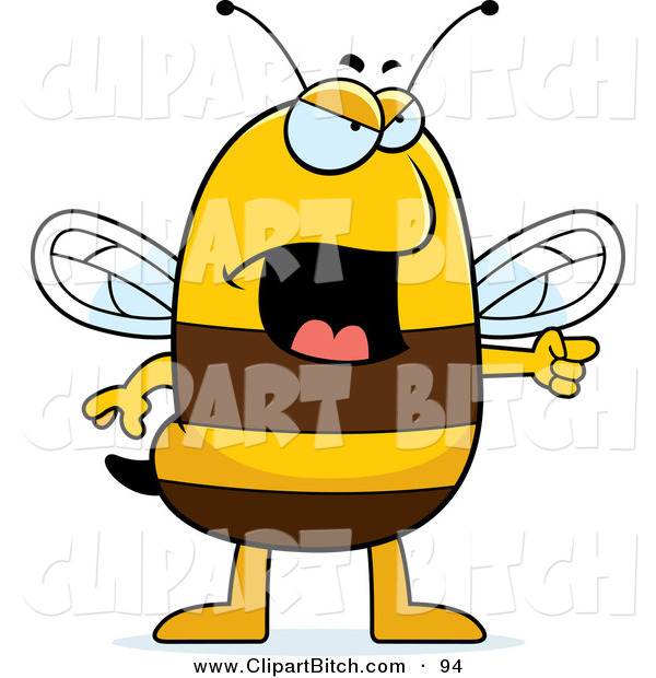 Clip Vector Cartoon Art of an Angry Bee Pointing to the Side