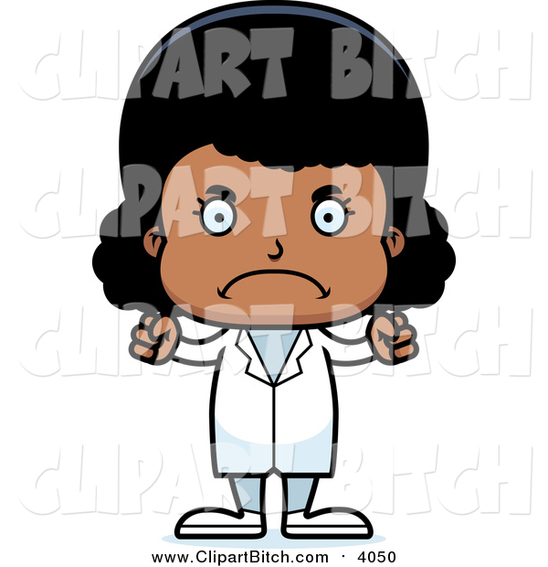 Clip Vector Cartoon Art of an Angry Black Girl Doctor
