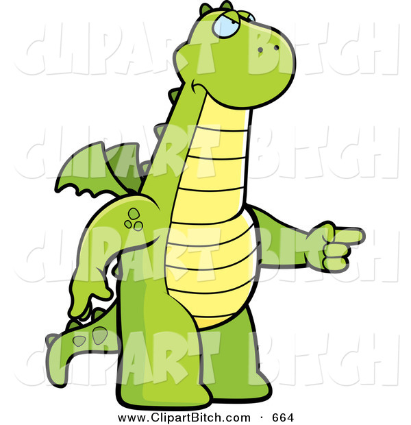 Clip Vector Cartoon Art of an Angry Green Dragon Pointing to the Right on White