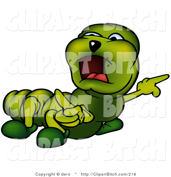 Small Green Caterpillar Angrily Pointing to the Right While Yelling and Looking Left