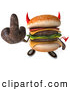 Clip Art of a 3d Devil Unhealthy Hamburger Holding up the Middle Finger by Julos