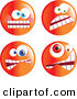 Clip Vector Art of a Digital Set of Four Crazy Mad Orange Emoticon Faces by Prawny