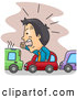 Clip Vector Art of a Frustrated Businessman with Angry Road Rage in a Bumper to Bumper Traffic Jam by BNP Design Studio