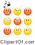 Clip Vector Art of a Group of Nine Mad, Angry, Bully, Crying and Bandaged Red and Yellow Emoticon Faces by Beboy