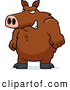 Clip Vector Cartoon Art of a Big Angry Boar Standing and Looking Left by Cory Thoman