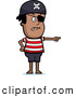 Clip Vector Cartoon Art of a Black Male Pirate Pointing, with Eye Patch and Striped Shirt by Cory Thoman