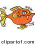Clip Vector Cartoon Art of a Cartoon Angry Orange Fish with One Sharp Tooth Swimming Right by Zooco