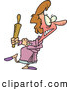 Clip Vector Cartoon Art of a Cartoon Angry Woman Carrying a Rolling Pin by Toonaday