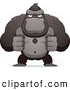 Clip Vector Cartoon Art of a Flexing Ape with Fists Clenched by Cory Thoman