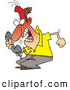 Clip Vector Cartoon Art of a Frustrated Cartoon Irate Man Screaming into a Phone by Toonaday